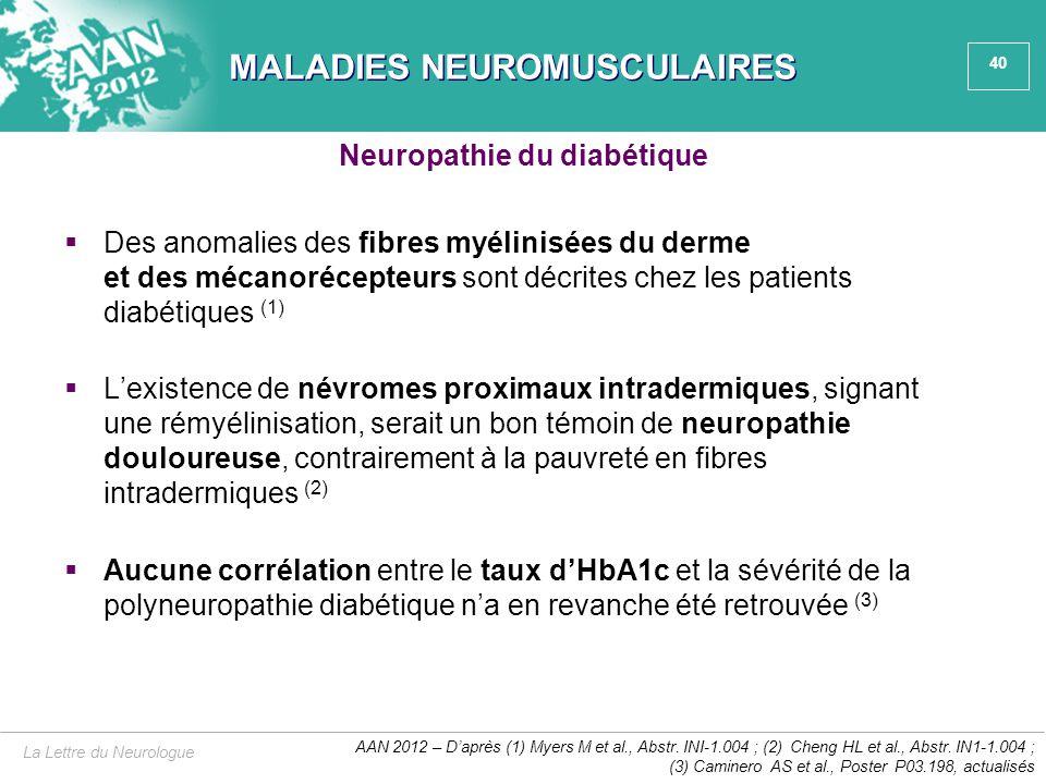 40 MALADIES NEUROMUSCULAIRES  Des anomalies des fibres myélinisées du derme et des mécanorécepteurs sont décrites chez les patients diabétiques (1) 