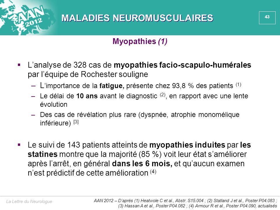 43 MALADIES NEUROMUSCULAIRES  L'analyse de 328 cas de myopathies facio-scapulo-humérales par l'équipe de Rochester souligne –L 'importance de la fati