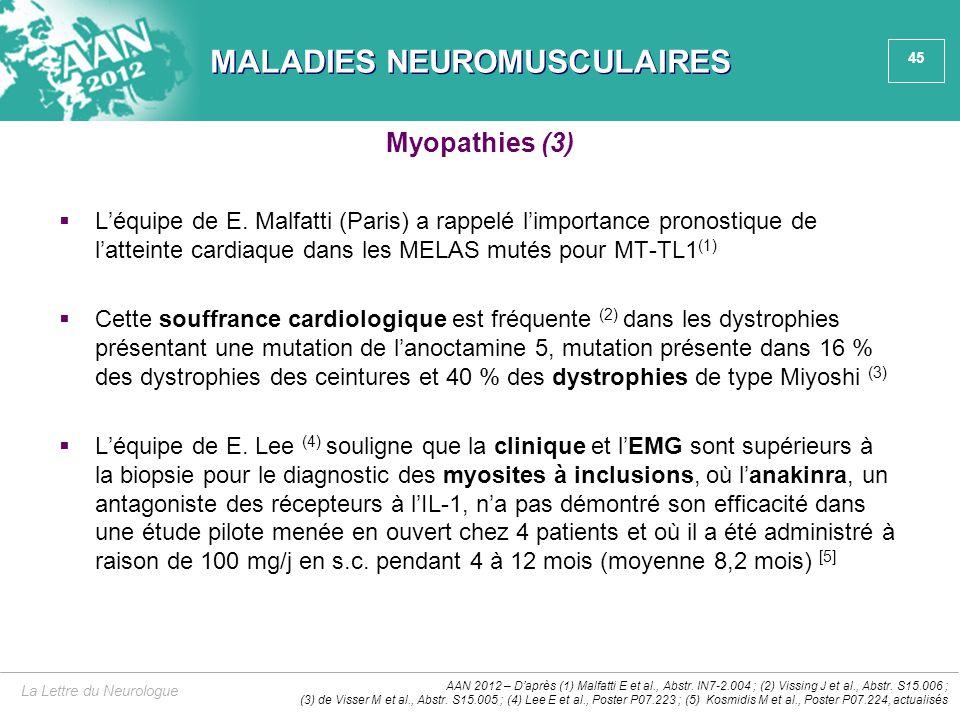 45 MALADIES NEUROMUSCULAIRES  L'équipe de E. Malfatti (Paris) a rappelé l'importance pronostique de l'atteinte cardiaque dans les MELAS mutés pour MT