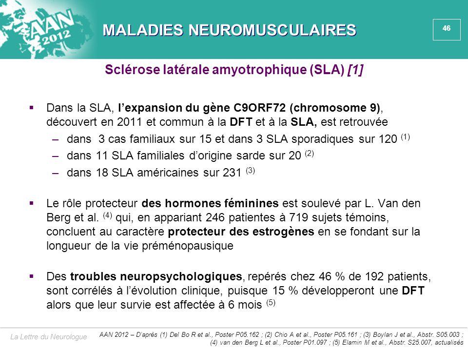 46 MALADIES NEUROMUSCULAIRES  Dans la SLA, l'expansion du gène C9ORF72 (chromosome 9), découvert en 2011 et commun à la DFT et à la SLA, est retrouvé