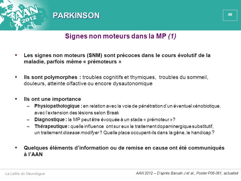 49 PARKINSON  Les signes non moteurs (SNM) sont précoces dans le cours évolutif de la maladie, parfois même « prémoteurs »  Ils sont polymorphes : t