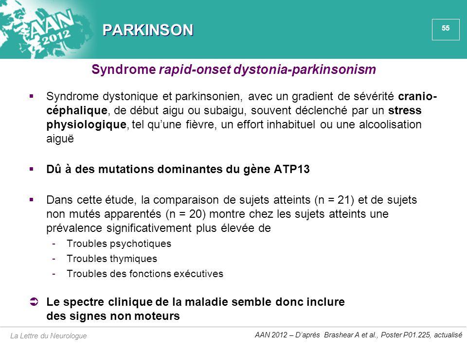 55 PARKINSON  Syndrome dystonique et parkinsonien, avec un gradient de sévérité cranio- céphalique, de début aigu ou subaigu, souvent déclenché par u