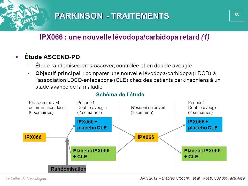 56 PARKINSON - TRAITEMENTS  Étude ASCEND-PD -Étude randomisée en crossover, contrôlée et en double aveugle -Objectif principal : comparer une nouvell