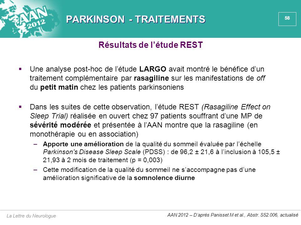 58 PARKINSON - TRAITEMENTS  Une analyse post-hoc de l'étude LARGO avait montré le bénéfice d'un traitement complémentaire par rasagiline sur les mani