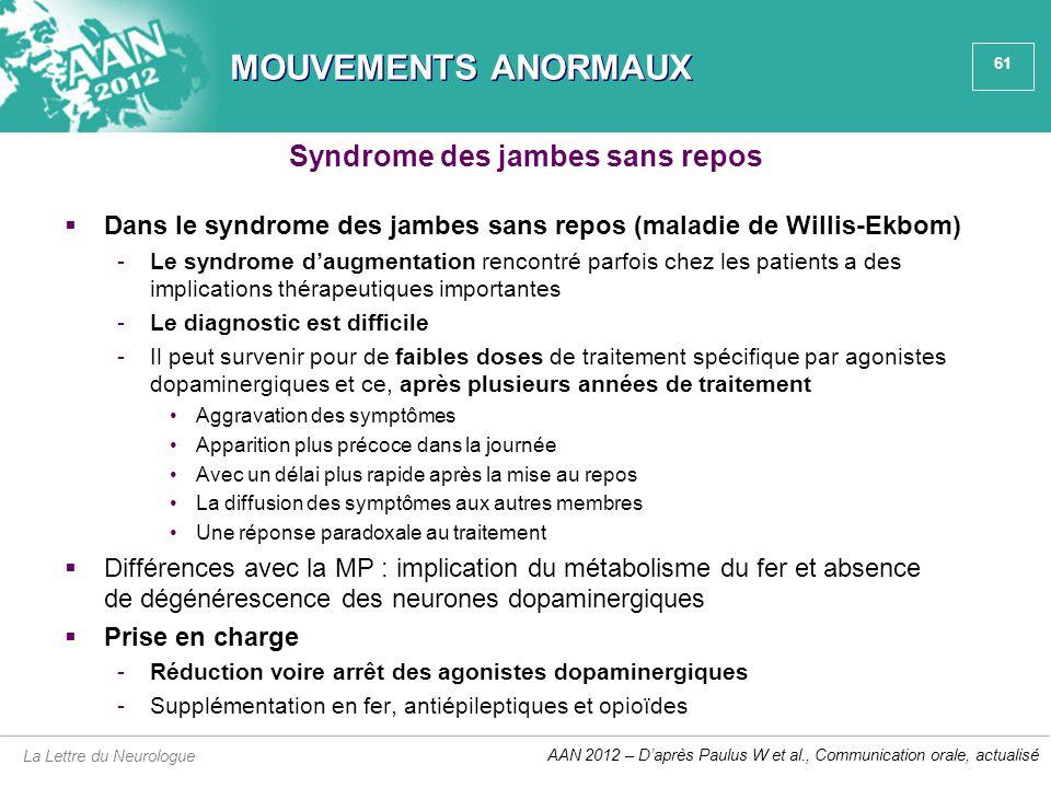 61 MOUVEMENTS ANORMAUX  Dans le syndrome des jambes sans repos (maladie de Willis-Ekbom) -Le syndrome d'augmentation rencontré parfois chez les patie