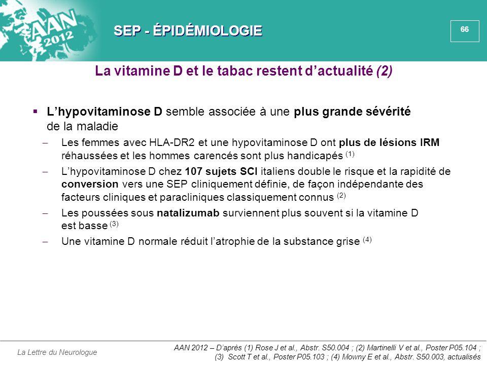 66 SEP - ÉPIDÉMIOLOGIE  L'hypovitaminose D semble associée à une plus grande sévérité de la maladie ̶ Les femmes avec HLA-DR2 et une hypovitaminose D