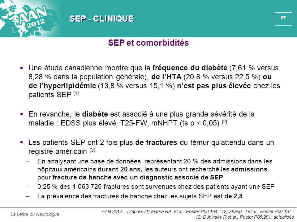 67 SEP - CLINIQUE  Une étude canadienne montre que la fréquence du diabète (7,61 % versus 8,28 % dans la population générale), de l'HTA (20,8 % versu