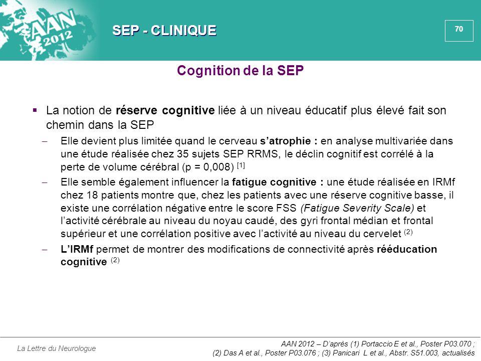 70 SEP - CLINIQUE  La notion de réserve cognitive liée à un niveau éducatif plus élevé fait son chemin dans la SEP ̶ Elle devient plus limitée quand
