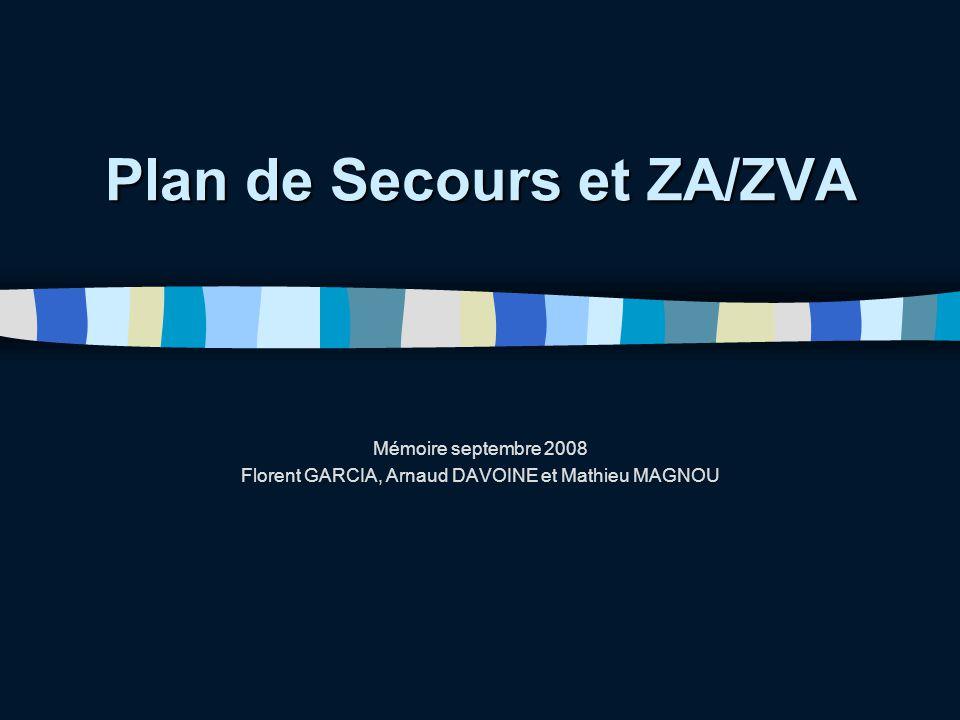 Plan de Secours et ZA/ZVA Mémoire septembre 2008 Florent GARCIA, Arnaud DAVOINE et Mathieu MAGNOU