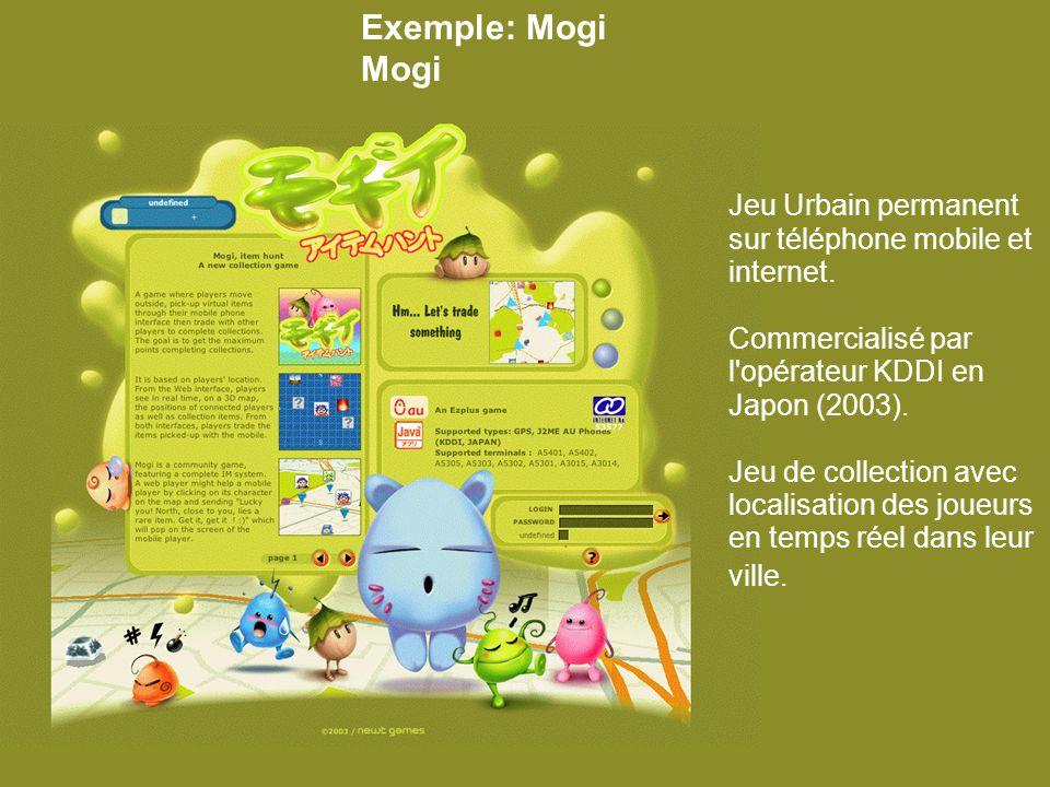 Exemple: Mogi Mogi Jeu Urbain permanent sur téléphone mobile et internet.