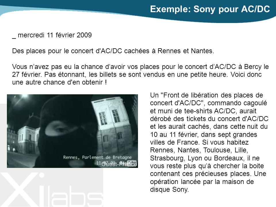 Exemple: Sony pour AC/DC Un Front de libération des places de concert d AC/DC , commando cagoulé et muni de tee-shirts AC/DC, aurait dérobé des tickets du concert d AC/DC et les aurait cachés, dans cette nuit du 10 au 11 février, dans sept grandes villes de France.