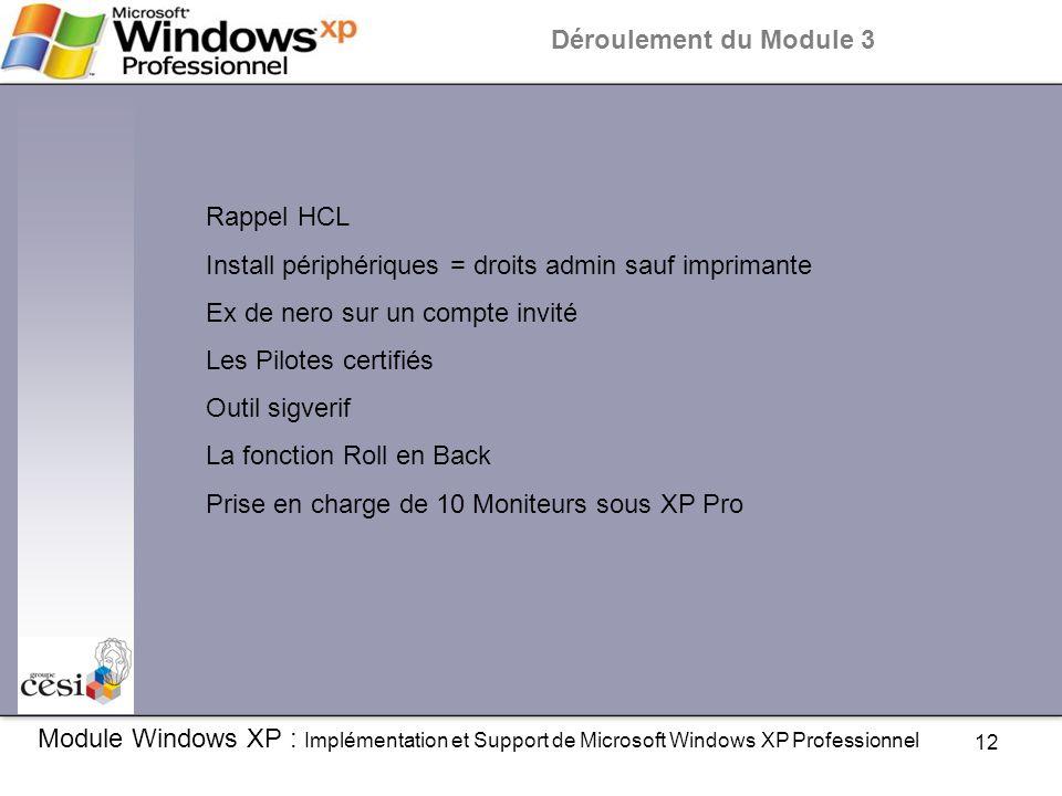 12 Module Windows XP : Implémentation et Support de Microsoft Windows XP Professionnel Déroulement du Module 3 Rappel HCL Install périphériques = droi
