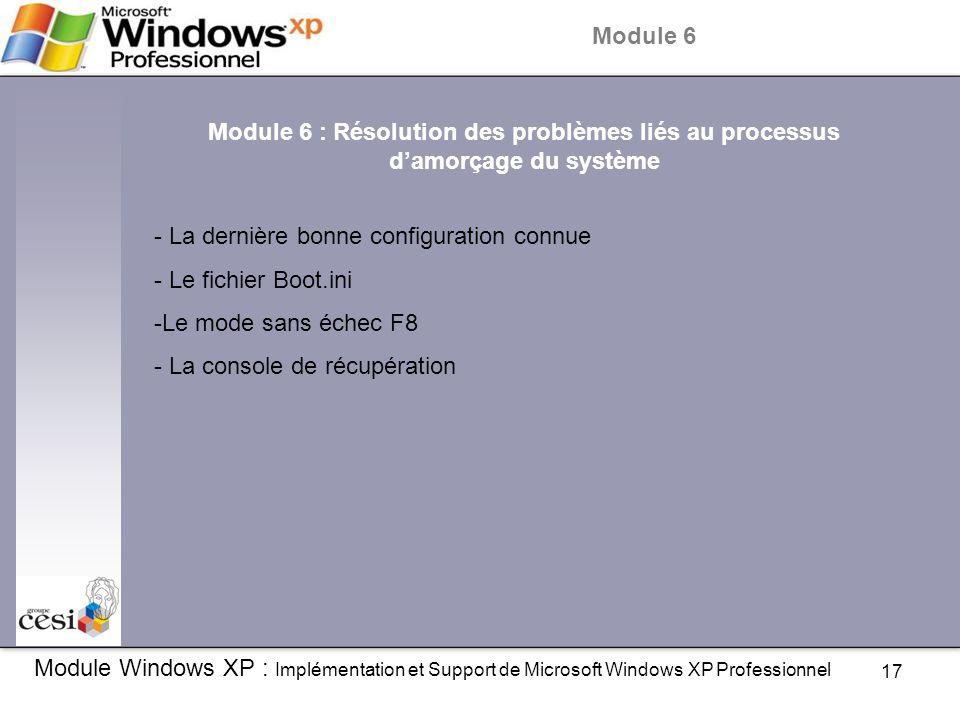 17 Module Windows XP : Implémentation et Support de Microsoft Windows XP Professionnel Module 6 Module 6 : Résolution des problèmes liés au processus