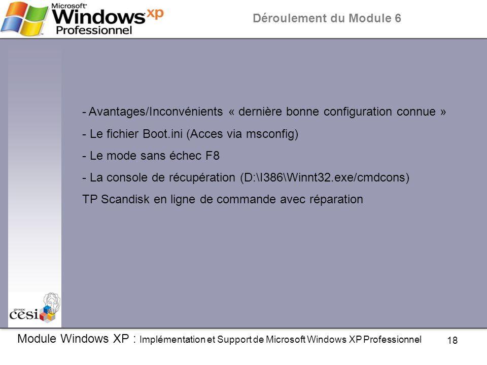 18 Module Windows XP : Implémentation et Support de Microsoft Windows XP Professionnel Déroulement du Module 6 - Avantages/Inconvénients « dernière bo