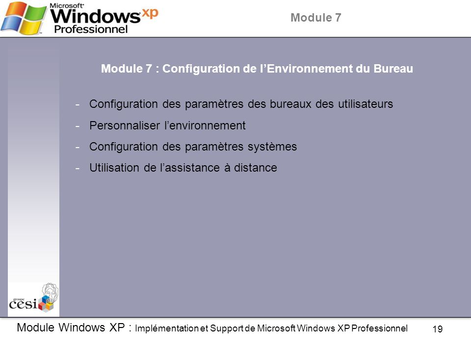 19 Module Windows XP : Implémentation et Support de Microsoft Windows XP Professionnel Module 7 Module 7 : Configuration de l'Environnement du Bureau