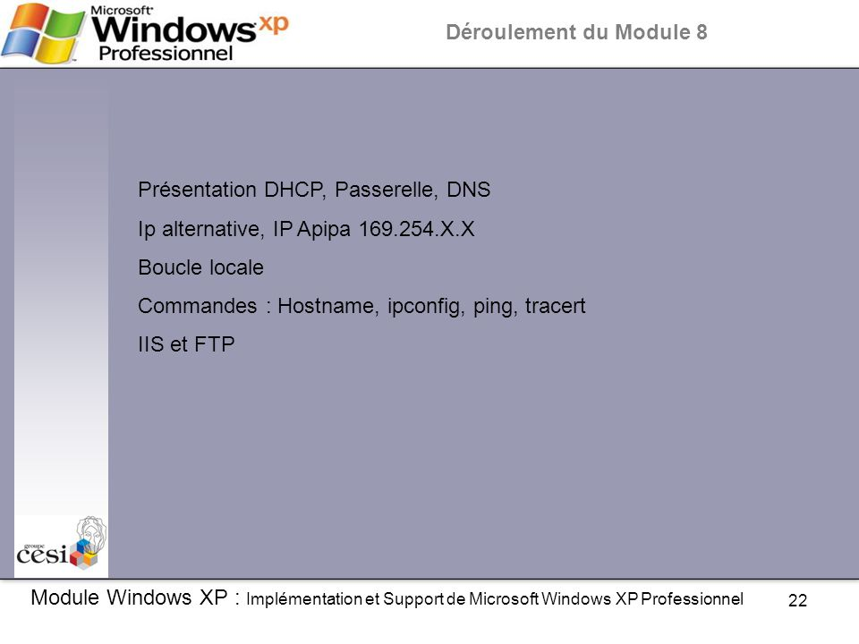 22 Module Windows XP : Implémentation et Support de Microsoft Windows XP Professionnel Déroulement du Module 8 Présentation DHCP, Passerelle, DNS Ip a