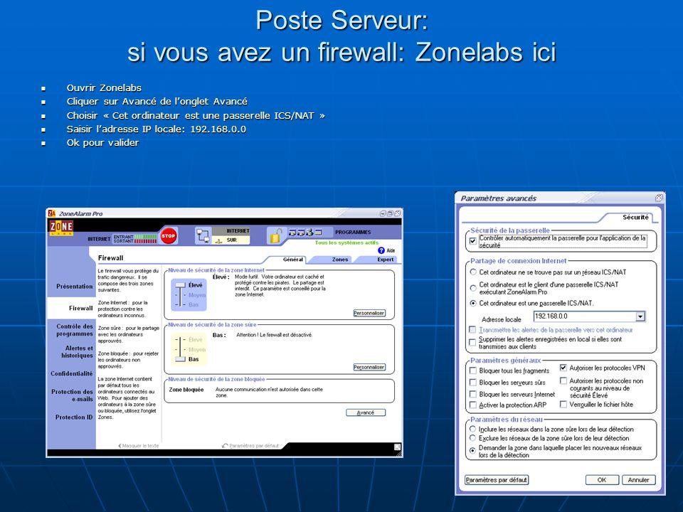 Poste Serveur: si vous avez un firewall: Zonelabs ici Ouvrir Zonelabs Ouvrir Zonelabs Cliquer sur Avancé de l'onglet Avancé Cliquer sur Avancé de l'onglet Avancé Choisir « Cet ordinateur est une passerelle ICS/NAT » Choisir « Cet ordinateur est une passerelle ICS/NAT » Saisir l'adresse IP locale: 192.168.0.0 Saisir l'adresse IP locale: 192.168.0.0 Ok pour valider Ok pour valider