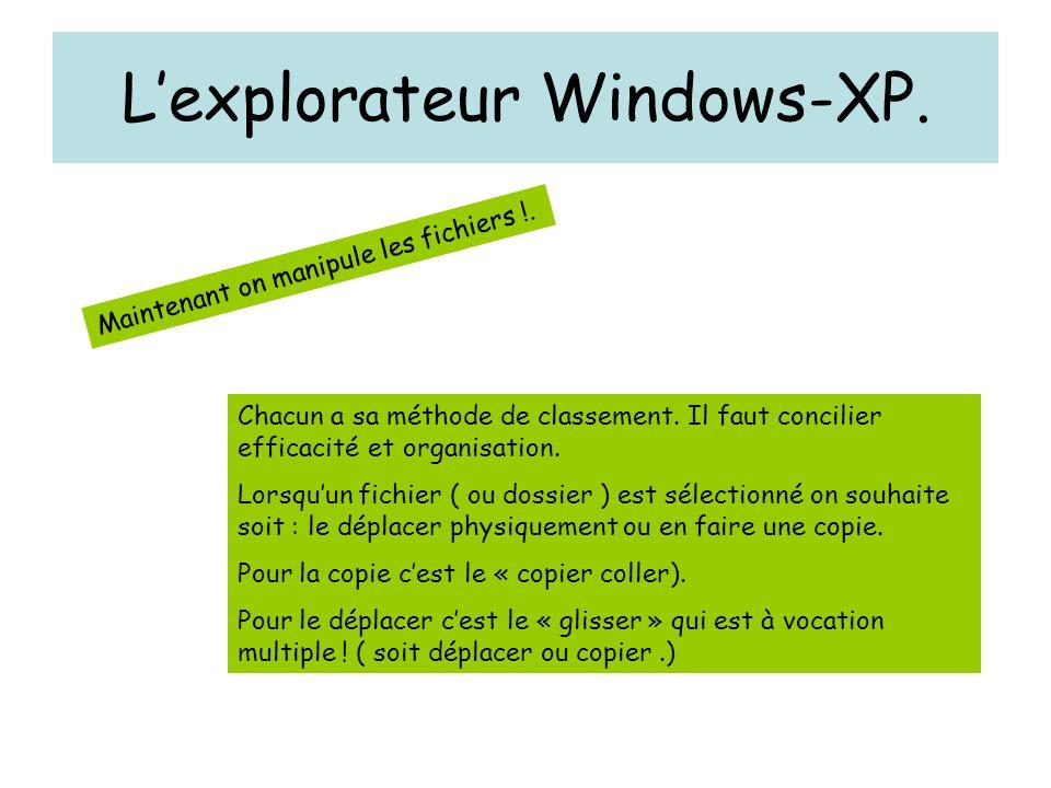 L'explorateur Windows-XP. Maintenant on manipule les fichiers !. Chacun a sa méthode de classement. Il faut concilier efficacité et organisation. Lors