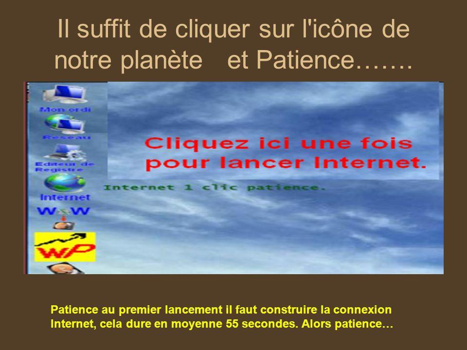 Il suffit de cliquer sur l'icône de notre planète et Patience……. Patience au premier lancement il faut construire la connexion Internet, cela dure en