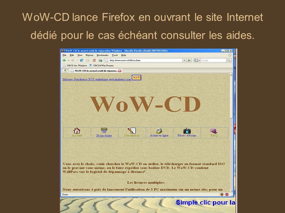 WoW-CD lance Firefox en ouvrant le site Internet dédié pour le cas échéant consulter les aides.