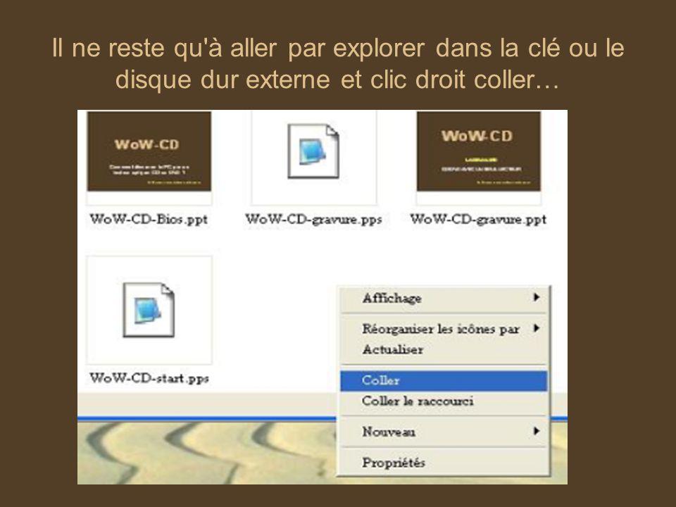 Il ne reste qu à aller par explorer dans la clé ou le disque dur externe et clic droit coller…