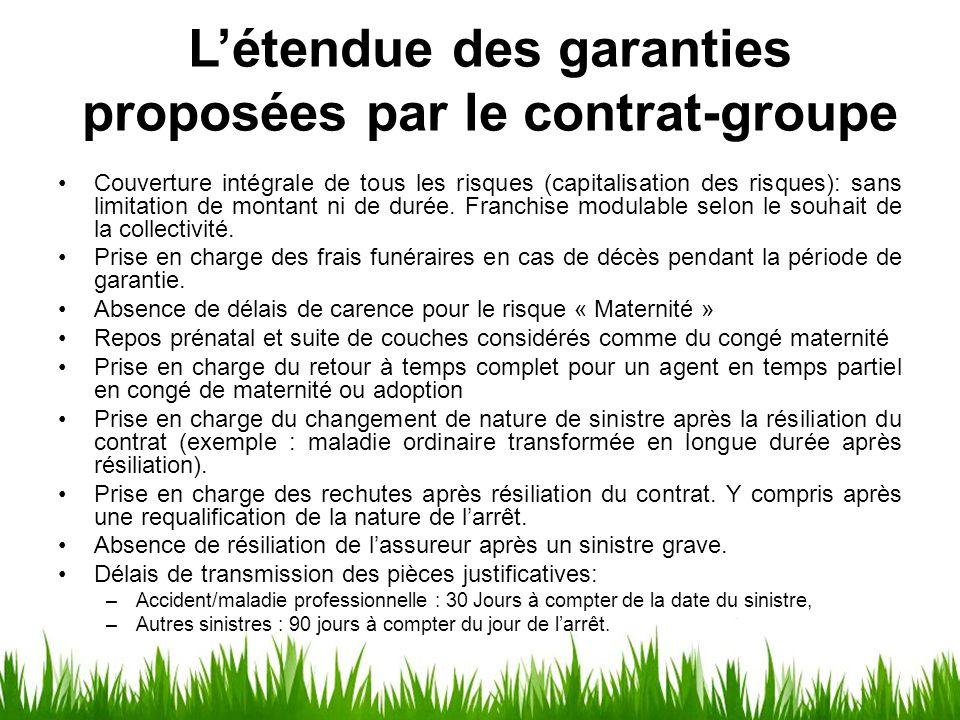 L'étendue des garanties proposées par le contrat-groupe Couverture intégrale de tous les risques (capitalisation des risques): sans limitation de mont