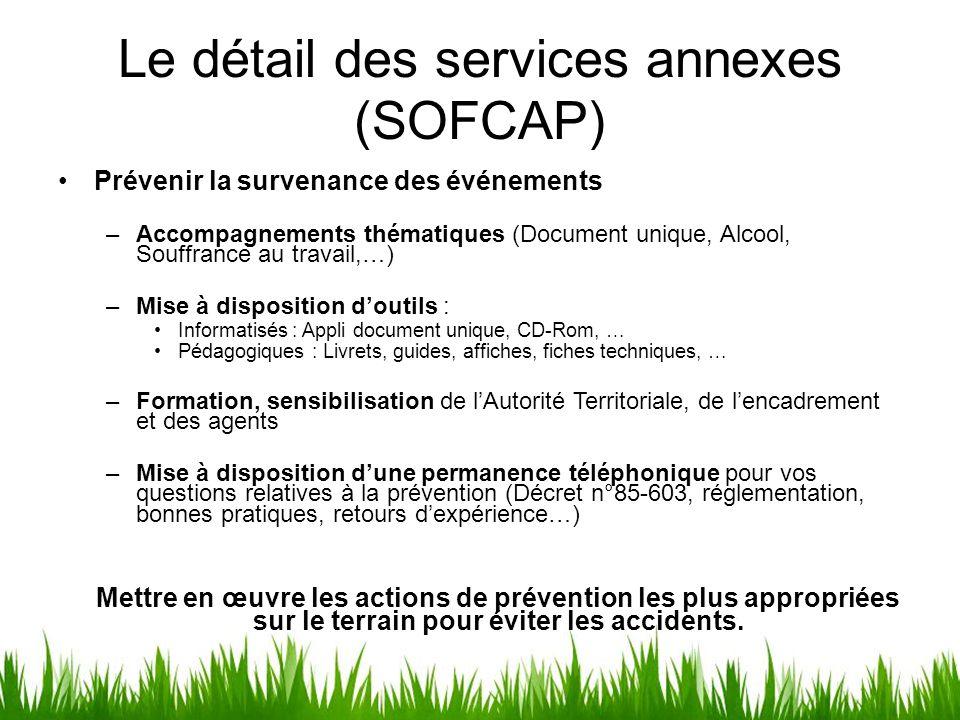 Le détail des services annexes (SOFCAP) Prévenir la survenance des événements –Accompagnements thématiques (Document unique, Alcool, Souffrance au tra