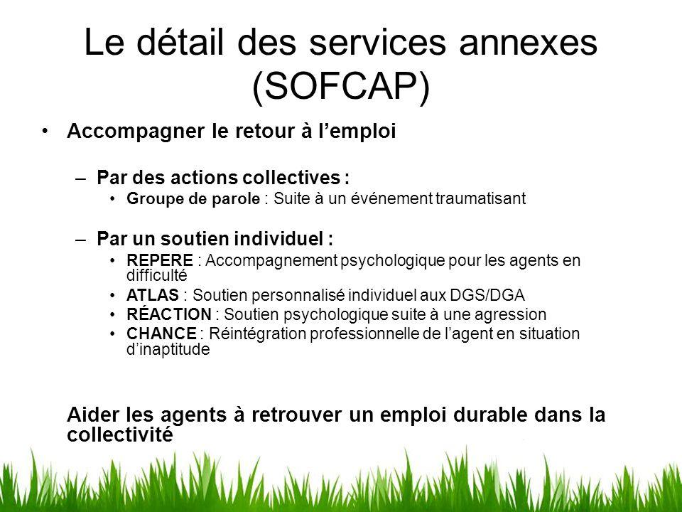 Le détail des services annexes (SOFCAP) Accompagner le retour à l'emploi –Par des actions collectives : Groupe de parole : Suite à un événement trauma
