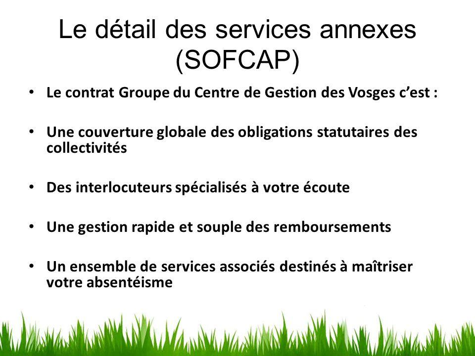 Le détail des services annexes (SOFCAP) Le contrat Groupe du Centre de Gestion des Vosges c'est : Une couverture globale des obligations statutaires d