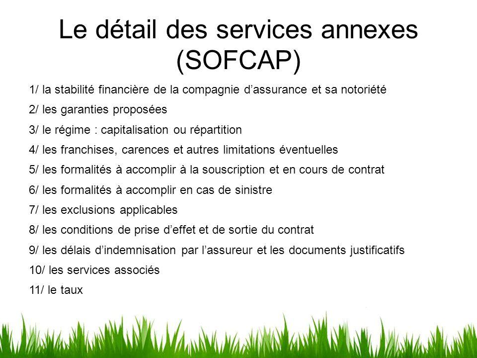 Le détail des services annexes (SOFCAP) 1/ la stabilité financière de la compagnie d'assurance et sa notoriété 2/ les garanties proposées 3/ le régime