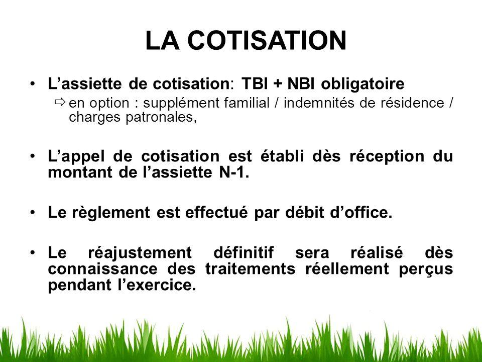 LA COTISATION L'assiette de cotisation: TBI + NBI obligatoire  en option : supplément familial / indemnités de résidence / charges patronales, L'appe