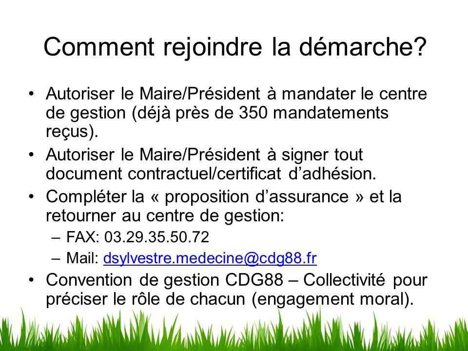 Comment rejoindre la démarche? Autoriser le Maire/Président à mandater le centre de gestion (déjà près de 350 mandatements reçus). Autoriser le Maire/