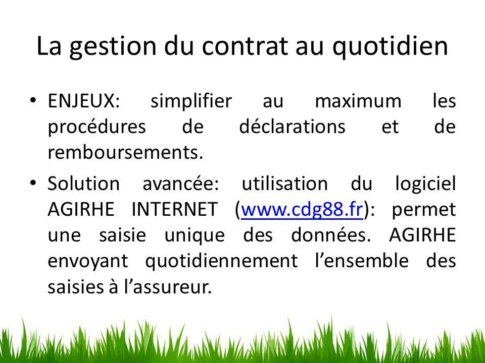 La gestion du contrat au quotidien ENJEUX: simplifier au maximum les procédures de déclarations et de remboursements. Solution avancée: utilisation du
