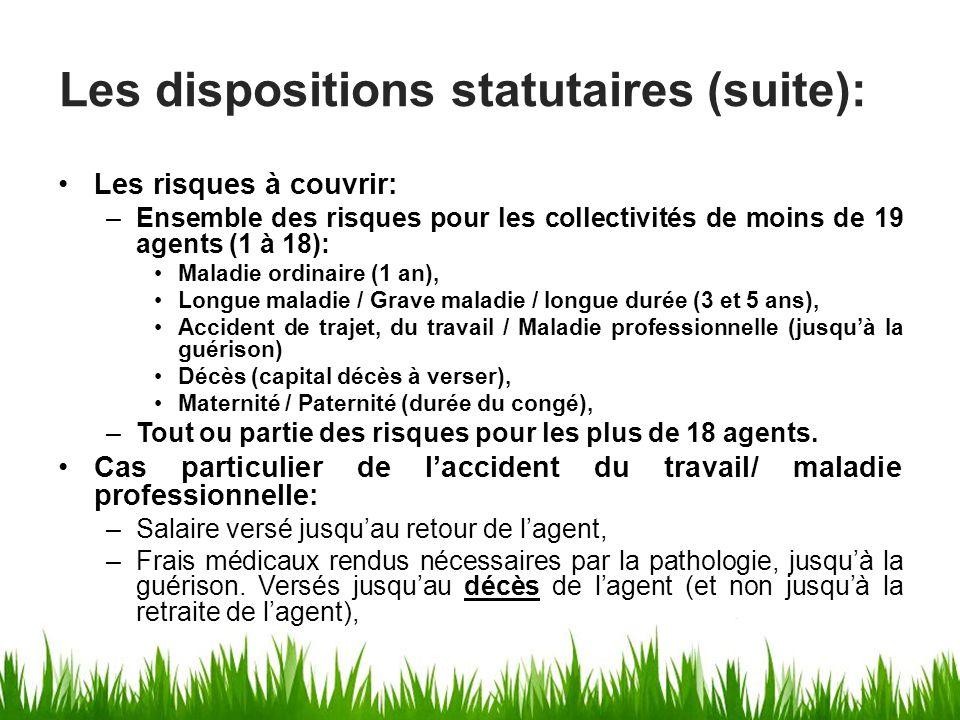 Les risques à couvrir: –Ensemble des risques pour les collectivités de moins de 19 agents (1 à 18): Maladie ordinaire (1 an), Longue maladie / Grave m