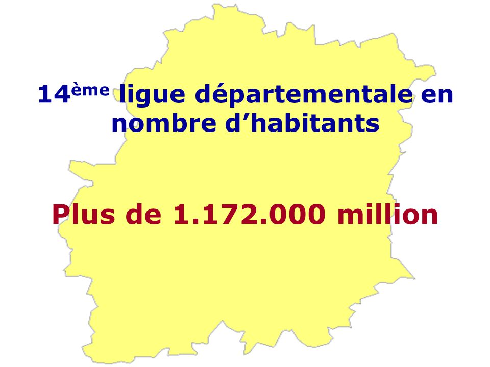 14 ème ligue départementale en nombre d'habitants Plus de 1.172.000 million