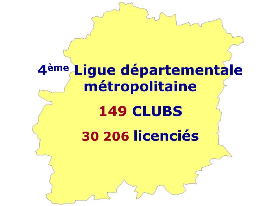 4 ème Ligue départementale métropolitaine 149 CLUBS 30 206 licenciés