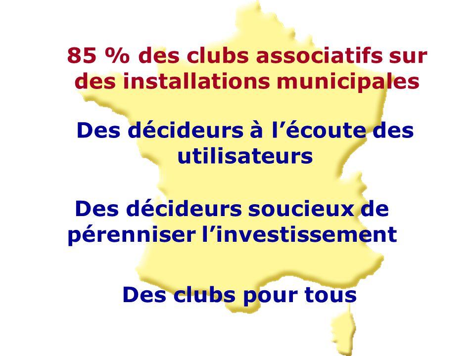 85 % des clubs associatifs sur des installations municipales Des décideurs à l'écoute des utilisateurs Des décideurs soucieux de pérenniser l'investissement Des clubs pour tous