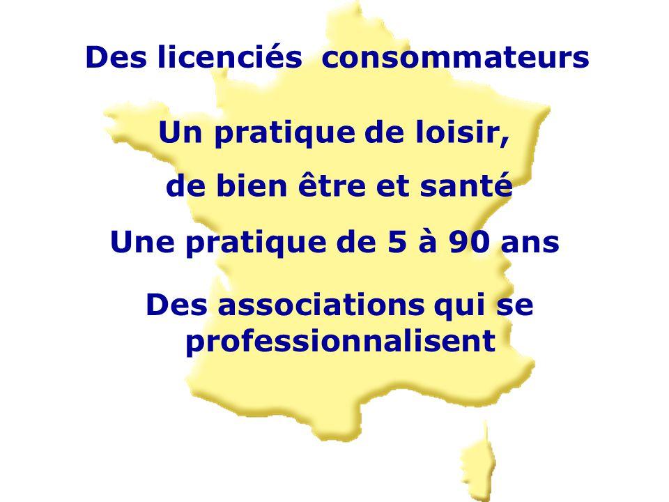 Des licenciés consommateurs Une pratique de 5 à 90 ans Un pratique de loisir, de bien être et santé Des associations qui se professionnalisent