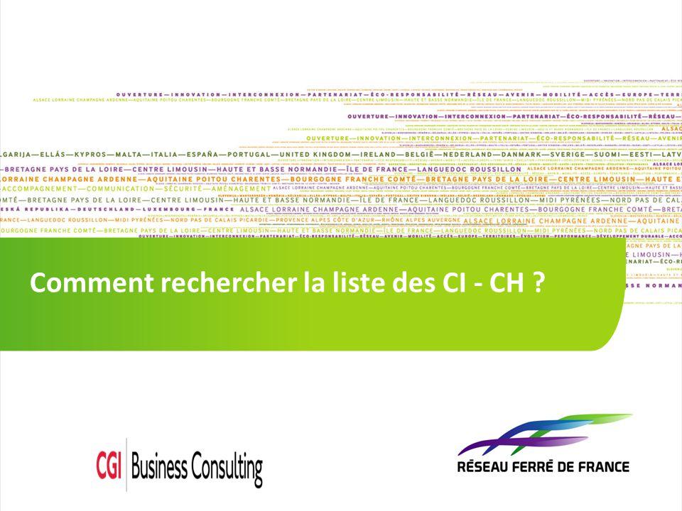 1 1 Comment rechercher la liste des CI - CH ?