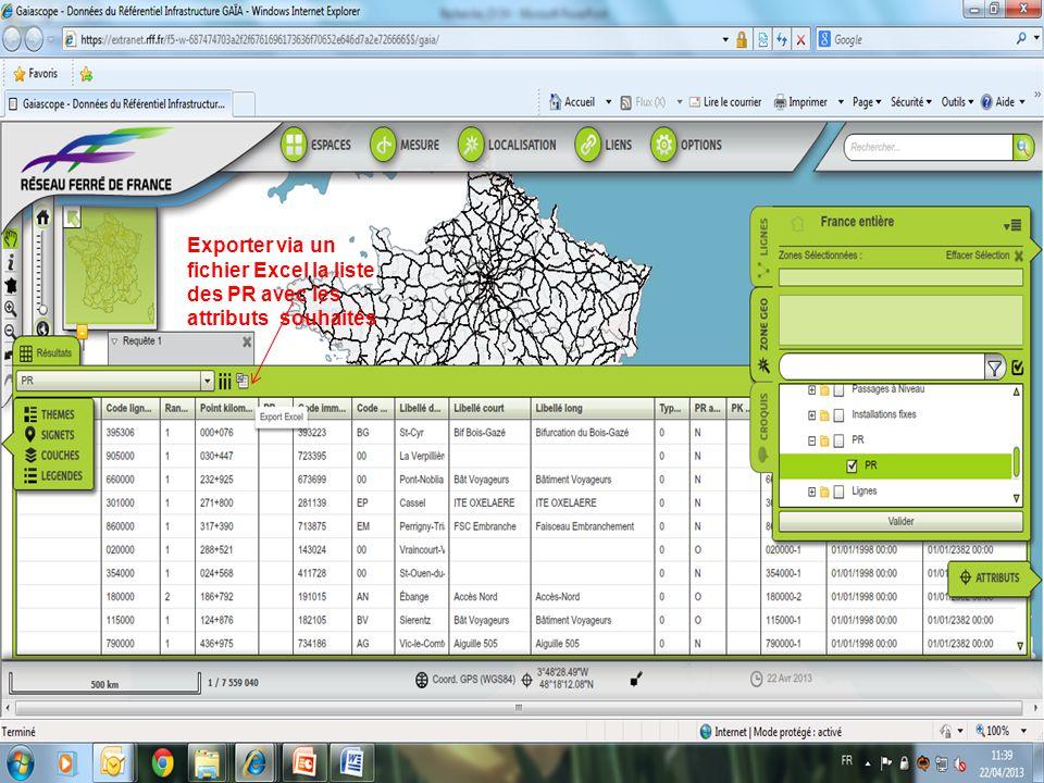 Exporter via un fichier Excel la liste des PR avec les attributs souhaités