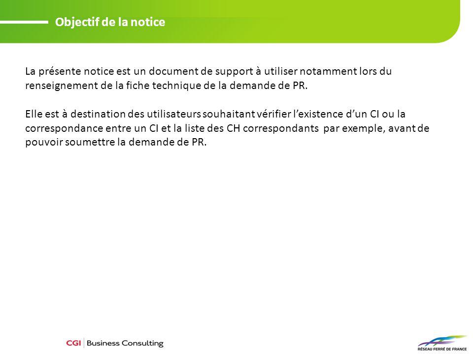 Objectif de la notice La présente notice est un document de support à utiliser notamment lors du renseignement de la fiche technique de la demande de PR.