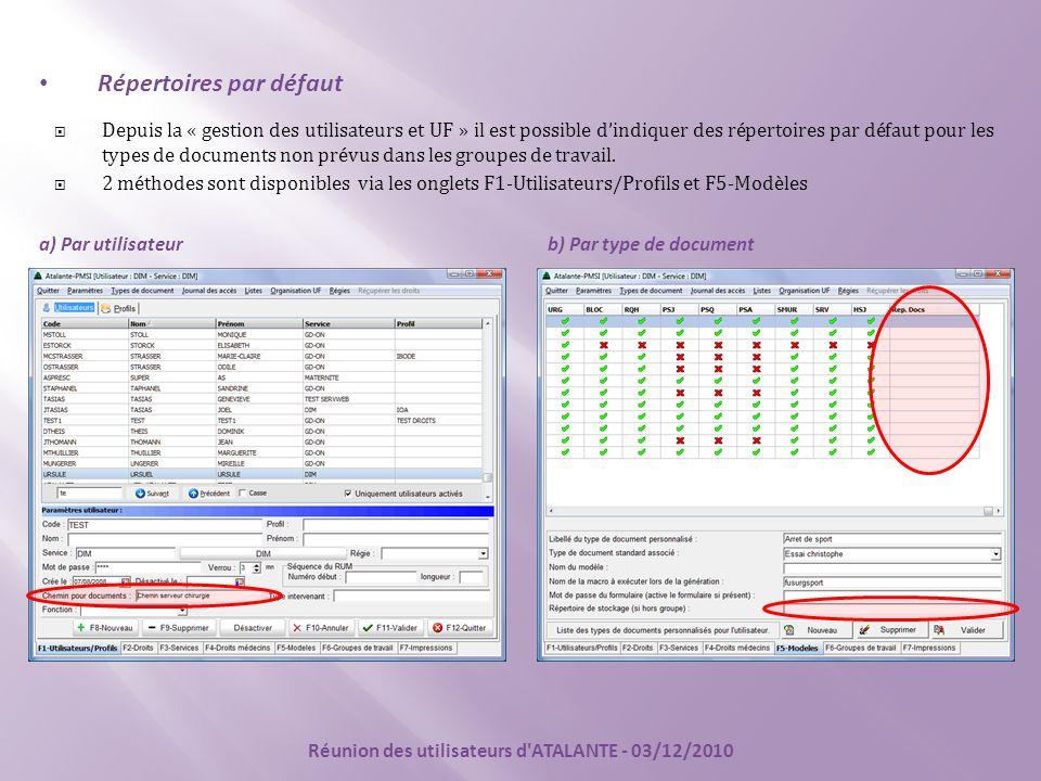Répertoires par défaut  Depuis la « gestion des utilisateurs et UF » il est possible d'indiquer des répertoires par défaut pour les types de documents non prévus dans les groupes de travail.