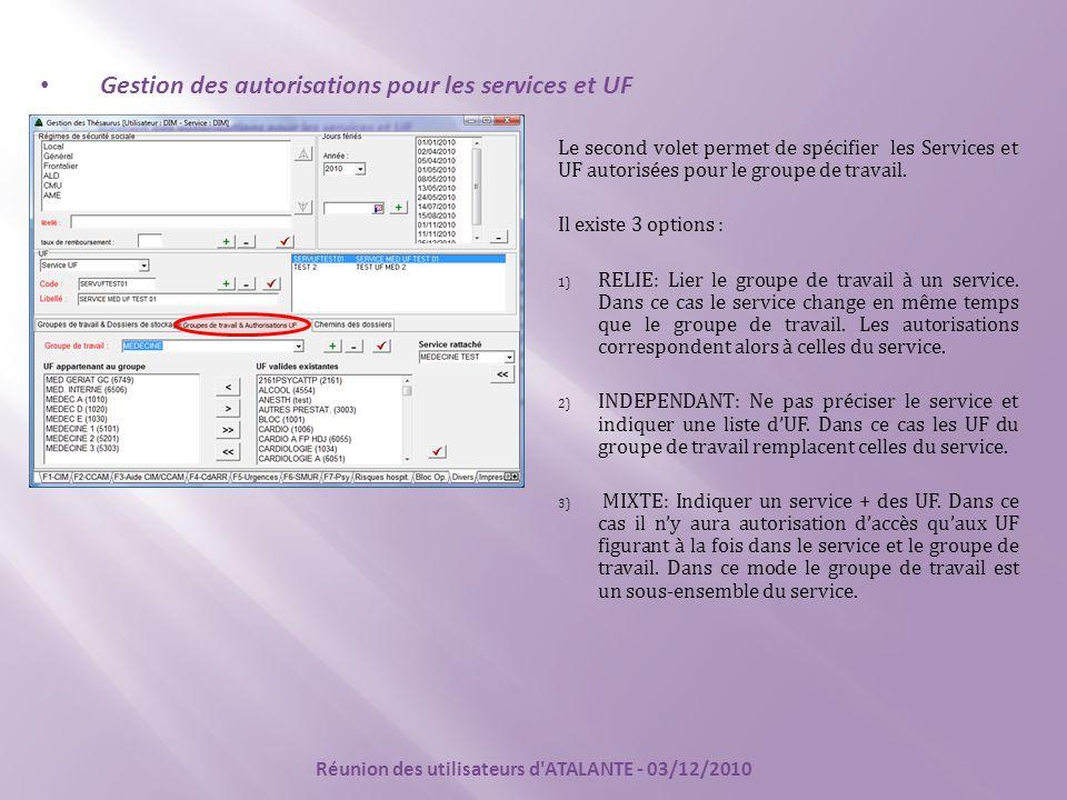 Le second volet permet de spécifier les Services et UF autorisées pour le groupe de travail. Il existe 3 options : 1) RELIE: Lier le groupe de travail