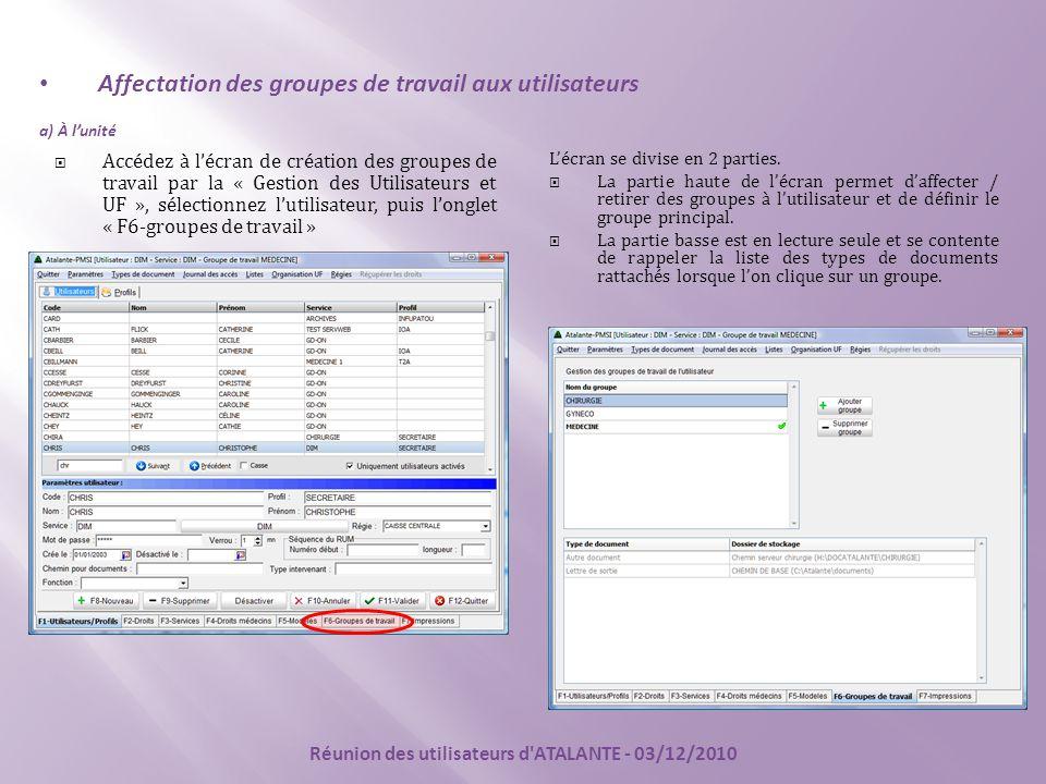 Affectation des groupes de travail aux utilisateurs a) À l'unité  Accédez à l'écran de création des groupes de travail par la « Gestion des Utilisateurs et UF », sélectionnez l'utilisateur, puis l'onglet « F6-groupes de travail » L'écran se divise en 2 parties.