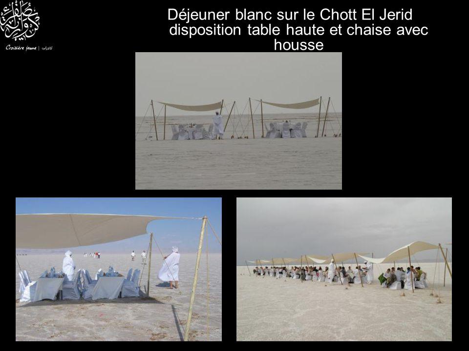 Déjeuner blanc sur le Chott El Jerid disposition table haute et chaise avec housse