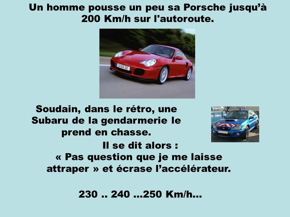 Un homme pousse un peu sa Porsche jusqu'à 200 Km/h sur l autoroute.