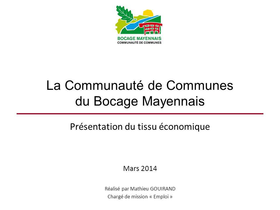 La Communauté de Communes du Bocage Mayennais Présentation du tissu économique Mars 2014 Réalisé par Mathieu GOUIRAND Chargé de mission « Emploi »