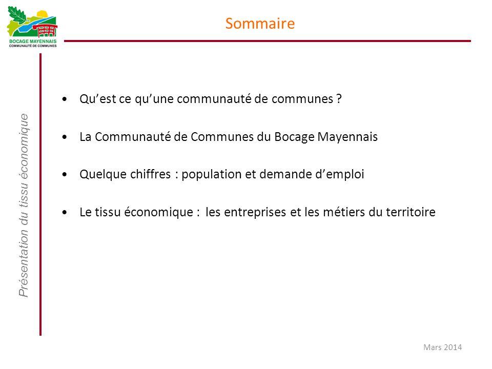 Présentation du tissu économique Mars 2014 Sommaire Qu'est ce qu'une communauté de communes ? La Communauté de Communes du Bocage Mayennais Quelque ch