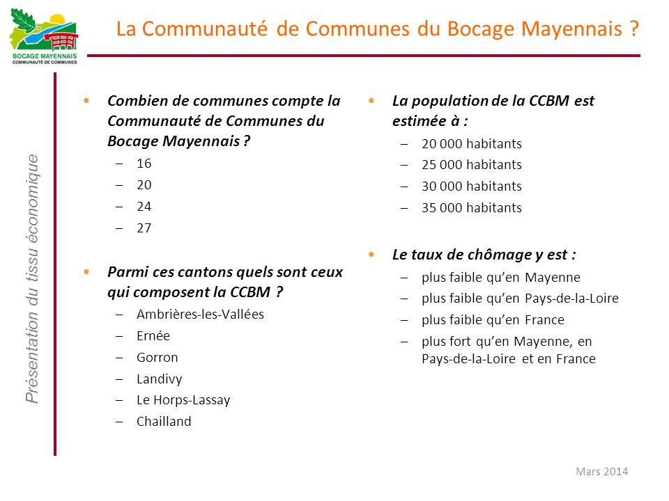 Présentation du tissu économique Mars 2014 La Communauté de Communes du Bocage Mayennais ? Combien de communes compte la Communauté de Communes du Boc