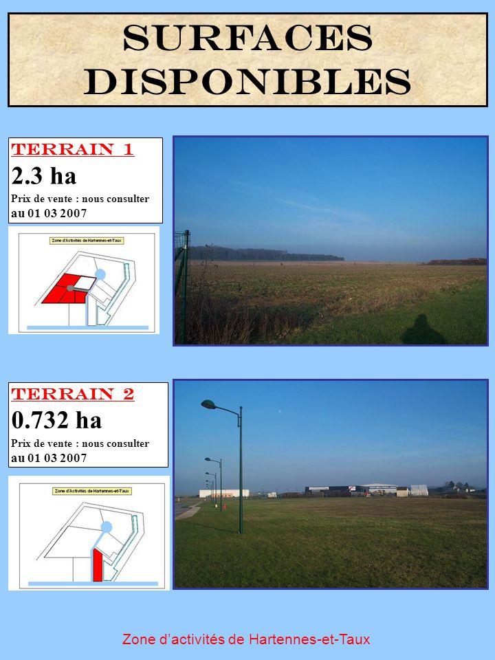Zone d'activités de Hartennes-et-Taux SURFACES DISPONIBLES Terrain 1 2.3 ha Prix de vente : nous consulter au 01 03 2007 Terrain 2 0.732 ha Prix de ve